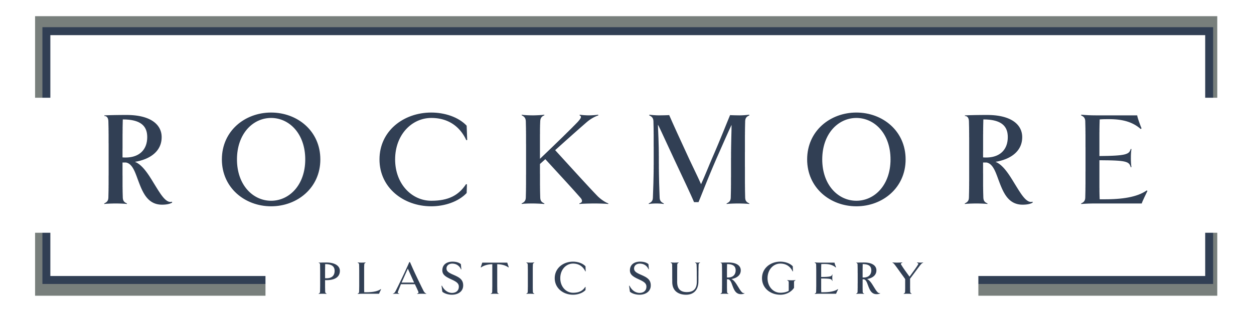 Rockmore Plastic Surgery logo, consisting of Rockmore in a box with Plastic Surgery breaking up the lower border of the box.