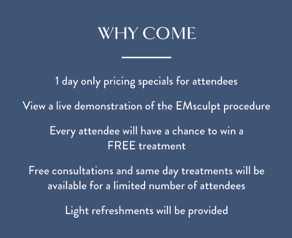 Blue square with white lettering explaining the benefits of attending the office\'s EMSCULPT Lunch and Learn session.