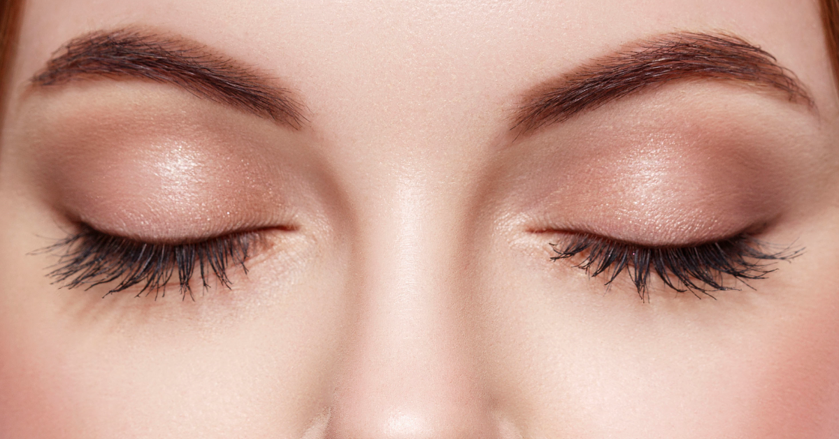 Eyelids that have been rejuvenated by eyelid surgery.