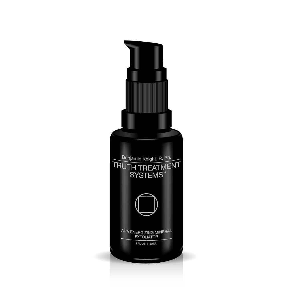 Black bottle of Truth Treatment Systems Energizing Mineral Exfoliator