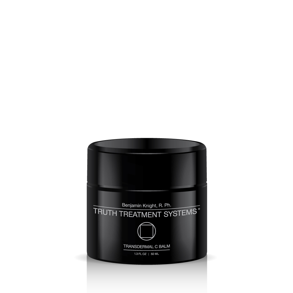 Black jar of Truth Treatment Systems Transdermal C Balm