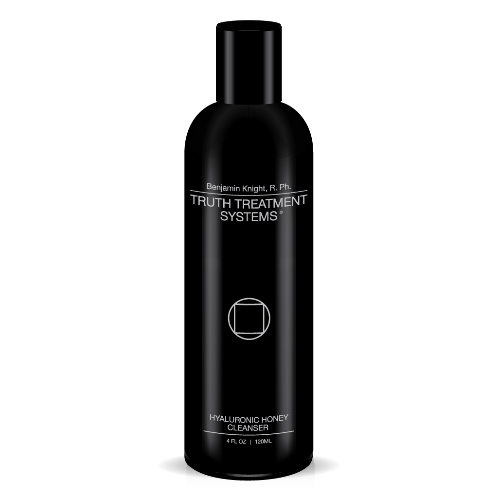 Black bottle of Truth Treatment Systems Hyaluronic Honey Cleanser