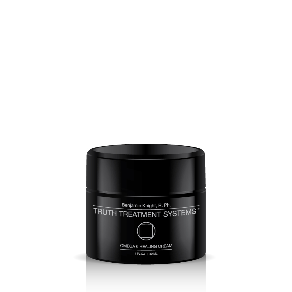Black jar of Truth Treatment Systems Omega 6 Healing Cream