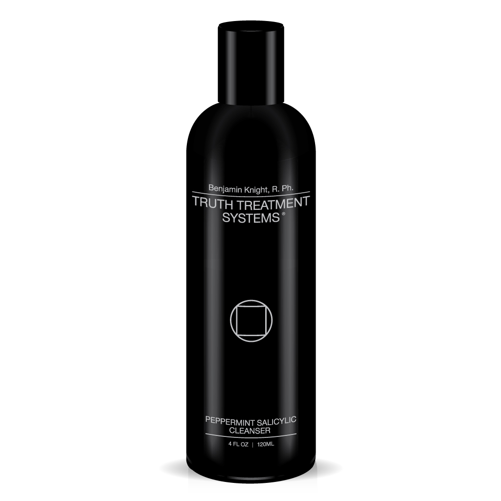 Black bottle of Truth Treatment Systems Peppermint Salicylic Cleanser