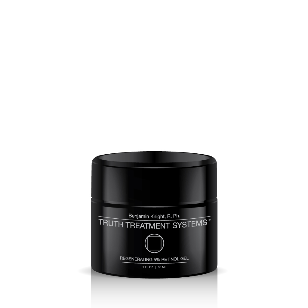 Black jar of Truth Treatment Systems Regenerating 5% Retinol Gel