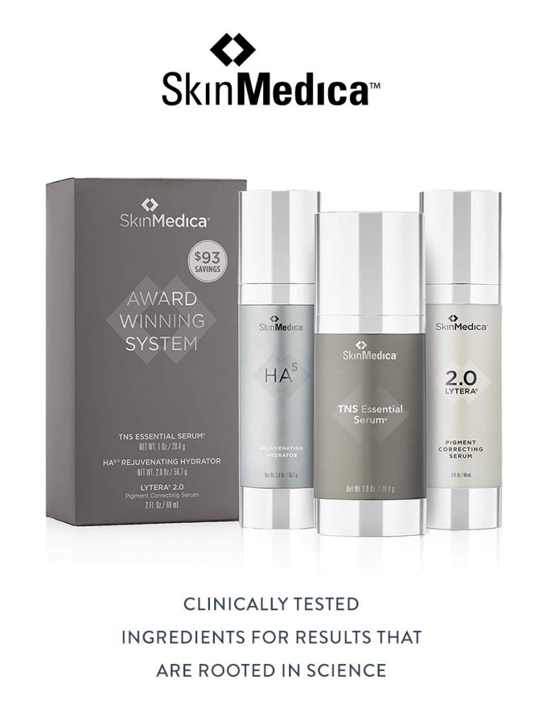 Collection of SkinMedica skincare products containing clinically tested ingredients for results that are rooted in science.