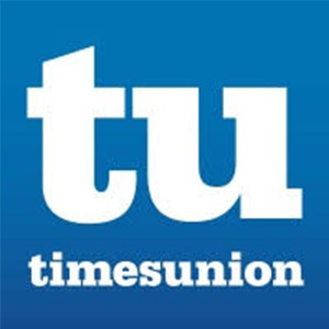 Times Union logo made of a blue square with reverse white text spelling out the paper\'s name.