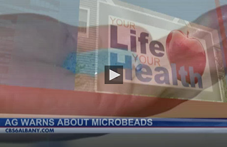CBS6 Albany Your Life Your Health logo with chyron that says AG warns about microbeads.