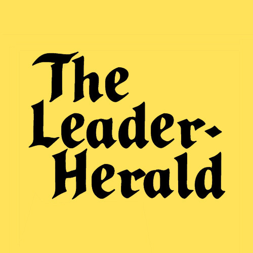 The Leader-Herald logo consisting of black type against a yellow background