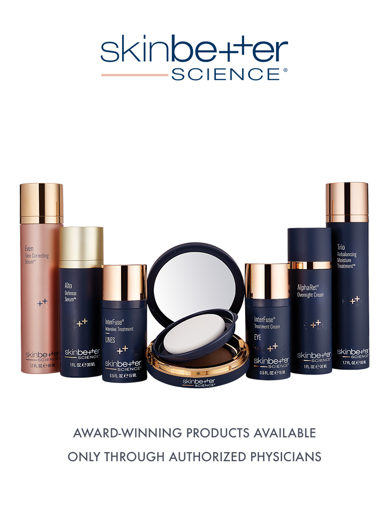 Collection of Skinbetter Science collection of products, award-winning products available only though authorized physicians